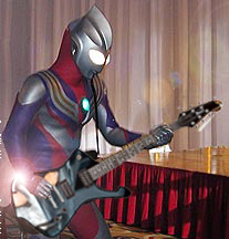 Ultraman3 plays a guitar